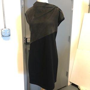 Poleci Green Suede Black Rayon Colorblock Dress